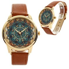 Gold Pattern Style Watch Wristwatch / Cool Modern by ZIZWatches