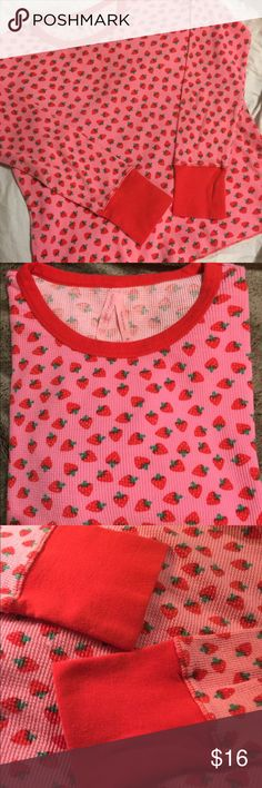 Victoria's Secret thermal sleep shirt Pink thermal  top with cute strawberry pattern. EUC from non smoking home Victoria's Secret Tops