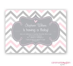 Baby shower pink and grey chevron printable invitation on Etsy, $9.50