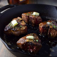 Lamb Loin Chops in Cognac Butter. Lamb loin chops made in fresh rosemary and cognac butter sauce. Seared to a finish in a cast iron skillet. Skillet Chicken Parmesan, Chicken Parmesan Recipes, Chicken Pizza, Butter Sauce, Butter Recipe, Pan Seared Filet Mignon, Cast Iron Steak, Lamb Loin Chops, Garlic Herb Butter
