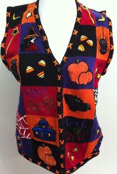 Halloween Medium M Witch Bat Spider Web Pumpkin Applique Women Ugly Sweater Vest