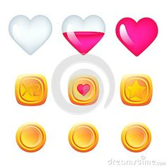 Vector Illustration with game icons. For computer games. Heart - health bar, coin 2x - double points, coin with heart - extra life, coin with star - bonus.