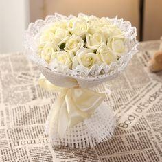 2016 Cheap Romantic High Quality Beige Bridal Bridesmaid Flowers Handmade Artificial Rose Wedding/Bridesmaid Bouquets Bridal Accessory