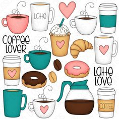 Coffee Doodle, Coffee Art, Printable Planner Stickers, Journal Stickers, Coffee Cup Clipart, Stickers Cool, Coffee Theme, Coffee Drawing, Doodle Art