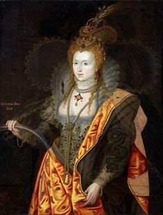 George Peter Alexander Healy, after a portrait attributed to Marcus Geeraerts the Younger -- Elizabeth I, Queen of England and Ireland in 1558, in ballet costume as Iris, known as the Rainbow Portrait