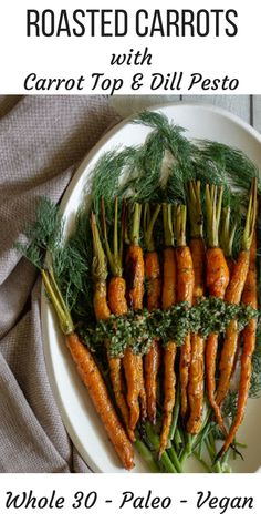 Sweet roasted carrots topped with a zesty dill and carrot top pesto. It's so simple to make this stunning vegetable side! A great way to prevent food waste. Healthy Side Dishes, Side Dish Recipes, Vegetable Recipes, Paleo Vegetables, Roasted Vegetables, Veggies, Sweet Potato Gnocchi, Gnocchi Recipes, Roasted Carrots