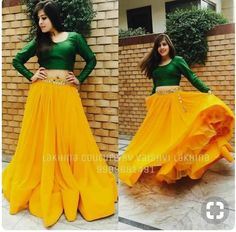 Green crop top with mango colour lehenga. Choli Designs, Lehenga Designs, Blouse Designs, Lehnga Dress, Lehenga Gown, Anarkali, Dress Skirt, Indian Attire, Indian Wear