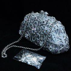 Crystal Luxurious Black Flower Clutch Evening Handbag Purse Bag