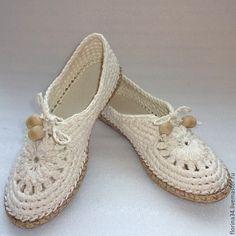 Купить Мокасины вязаные Lady G, лен, р.39, молочный - обувь ручной работы