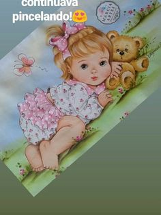 Menina com urso pintura em fralda Baby Clip Art, Baby Art, Baby Painting, Fabric Painting, Brother Innovis, Baby Shower Labels, Glitter Balloons, Baby Illustration, Kids Patterns