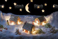 Véspera de Natal na aldeia cacke-mel foto royalty-free