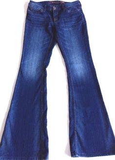 Seven 7 Flare Leg Jeans Size 28 x 34 Inseam Dark Distressed Wash Stretch Denim #Seven7 #Flare #BacktoSchool