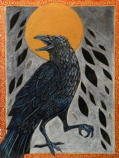 """""""Samhain"""" Raven Painting by Lynnette Shelley"""