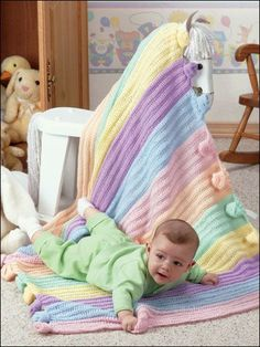 Crochet - Quick & Easy Patterns - Children & Baby Patterns - Rainbow Knots Baby Afghan $3.99  from e-patternscentral.com
