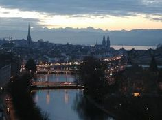 Zurich, Limmat river, the lake and the Alps