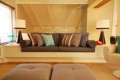 Sofá de alvenaria laqueado - sala