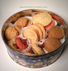 Never Better Bakery's Cookie Gifts in Tins. This one is in a Christmas tin. Shippable.