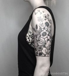 Image result for black and white wildflower tattoo