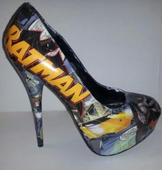 Decoupage Batman Heels by custombykylee on Etsy, $70.00