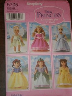 American Girl Clothes Patterns Free | AMERICAN GIRL DOLL Clothes Pattern Simplicity 5705 Disney Princess ...