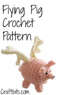 Flying Angel Pig Amigurumi Crochet Pattern : Cancer awareness ribbon, crocheted, and assembled with ...