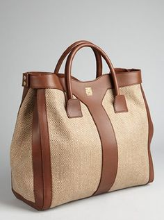 YSL natural canvas and leather snap side tote