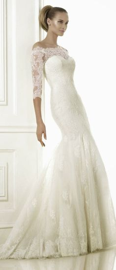 Lace sleeves ~ Pronovias 2015 Bridal Collection | bellethemagazine.com