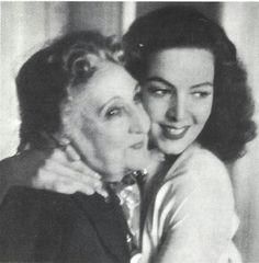 Maria Félix with the original Bella Otero Actress during the making of La Bella Otero version staring Maria Félix