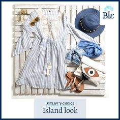 Greek island style is all about size! Small bag and hat. Big jewelry. Long dress. Mega-size sunglasses. Find them all here www.ble-shop.com Big Jewelry, Greek Islands, Stylists, Hat, Sunglasses, Dresses, Style, Gowns, Greek Isles