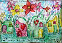 Whimsical fairy houses - art journaling collage by #ingridkristinav #ingridscraftscorner