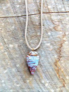 arrowhead necklace  gemstone wire wrapped arrow by TabeasTreasures, $15.00