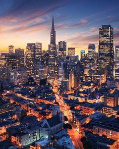 San Fancisco Architecture : San Francisco night – The MAN San Francisco Downtown, San Francisco At Night, San Francisco California, San Francisco Skyline, Bangkok, San Francisco Wallpaper, San Francisco Photography, Visit California, City Wallpaper