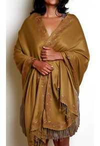 Semi Pashmina,The Carpet Cellar,Silk Pashmina Shawl Camel Honey