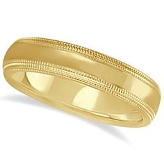 Shiny Double Milgrain Carved Wedding Ring Band 14k Yellow Gold (4mm), Men's, Size: 12.5