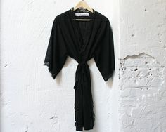 Black Sheer Striped Cotton Lawn and Lace Robe by HausandHomeLA