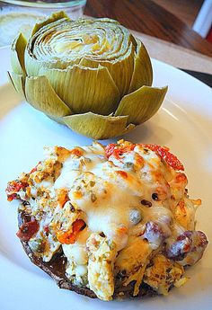 Chicken Pesto Stuffed Portabello Mushrooms with Steamed Artichokes ****