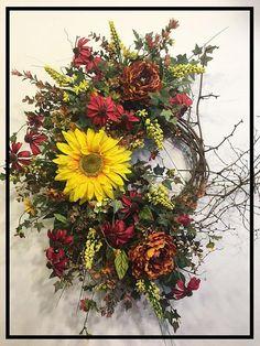 Sunflower Wreath Fall Wreath Fall Door Wreath Fall Wreaths