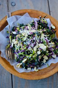 shredded kale and Brussels sprouts salad | Scaling Back