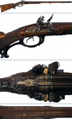 """Magnificent 18th century German double barrel flintlock rifle with carved stock and gold inlaid barrels.  Marked """"Gottfr Kreisler and Weigandt in Leipzig""""."""