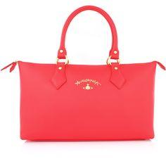 Vivienne Westwood Divina 7065 Shoulder Bag (91.100 HUF) ❤ liked on Polyvore featuring bags, handbags, shoulder bags, shoulder bag purse, red handbags, vegan leather purse, faux leather purse and chain handbags
