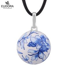 Unborn Baby Gift Anger Caller Silver Jewelry Mexico Bola Blue And White Porcelain Harmony Pregnancy Chime Ball Pendant Necklace
