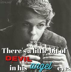 More like a little bit of angel in his devil eyes... A have hope in him! I don't care his dead!