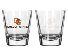 Oregon State Beavers Shot Glass - 2 Pack Satin Etch (backorder)