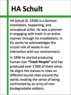 "About HA Schult and his installation ""Trash People"" (1996 onwards)."