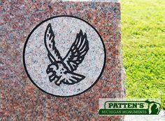 Eagle Symbol design on mountain rose granite