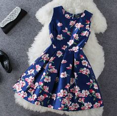 Cheap Blue Plum Flower Print Sleeveless Dress For Big Sale!Blue Plum Flower Print Sleeveless Dress, made of cotton and silk, shape and color last long. Grad Dresses, Dress Outfits, Casual Dresses, Short Dresses, Fashion Dresses, Summer Dresses, Floral Dresses, Sleeveless Dresses, Blue Dress Casual