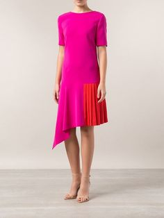 this colorblock red and pink oscar de la renta dress #swoon
