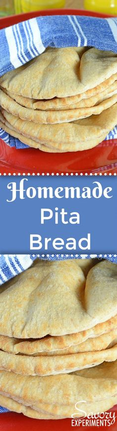 Easy Homemade Pita Bread is a flatbread recipe you can make with just 5 ingredients in 20 minutes! #homemadepitabread #pitabread www.savoryexperiments.com