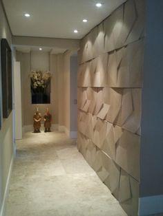 Revestimento cimentício no corredor