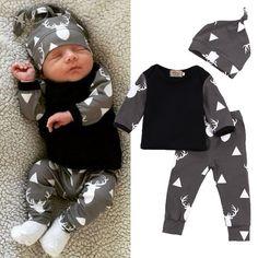 Cute Newborn Baby Girl Boy Clothes Deer Tops T-shirt Long Sleeve   Pants Casual Hat Cap 3pcs Outfits Set